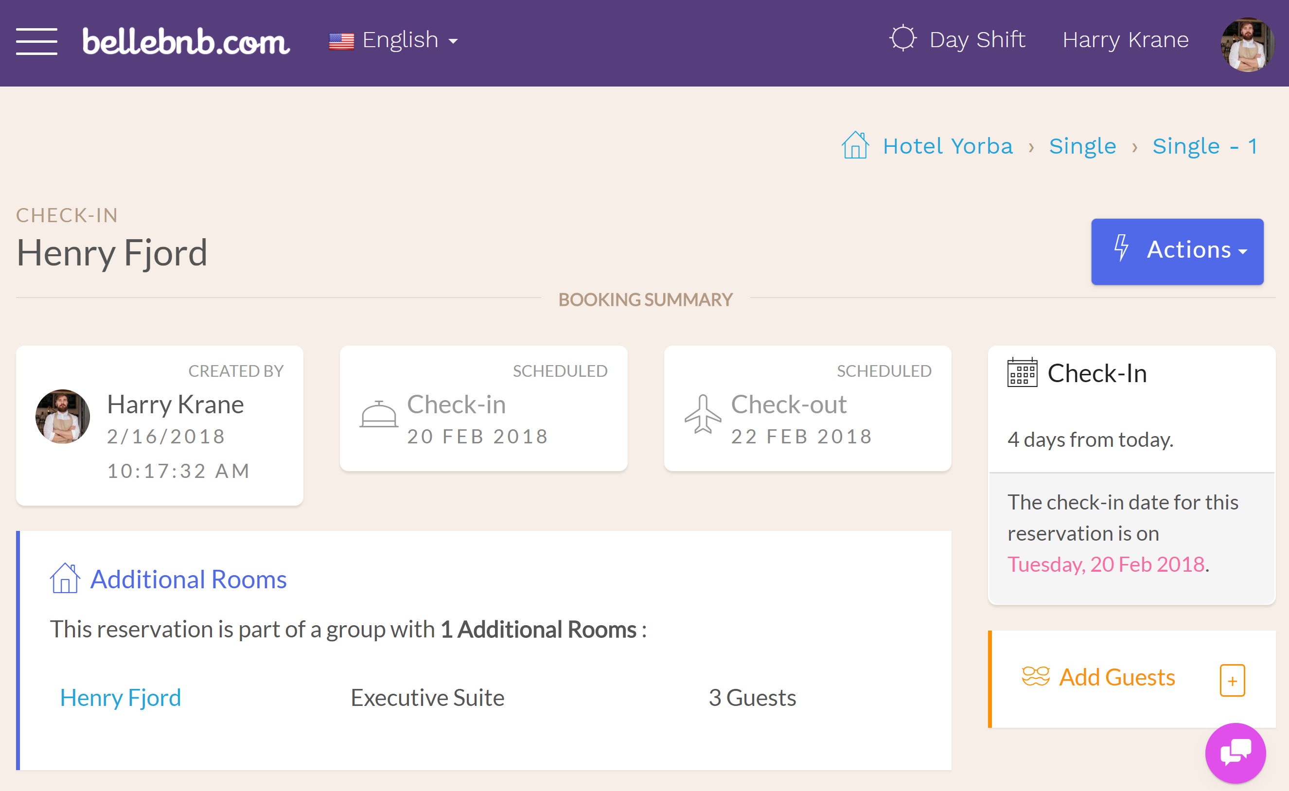 Hotel PMS Software You can see the additional rooms for the reservation in the 'Booking Summary' section of the reservation details for the main room. The additional rooms will link back to the main room for the group.