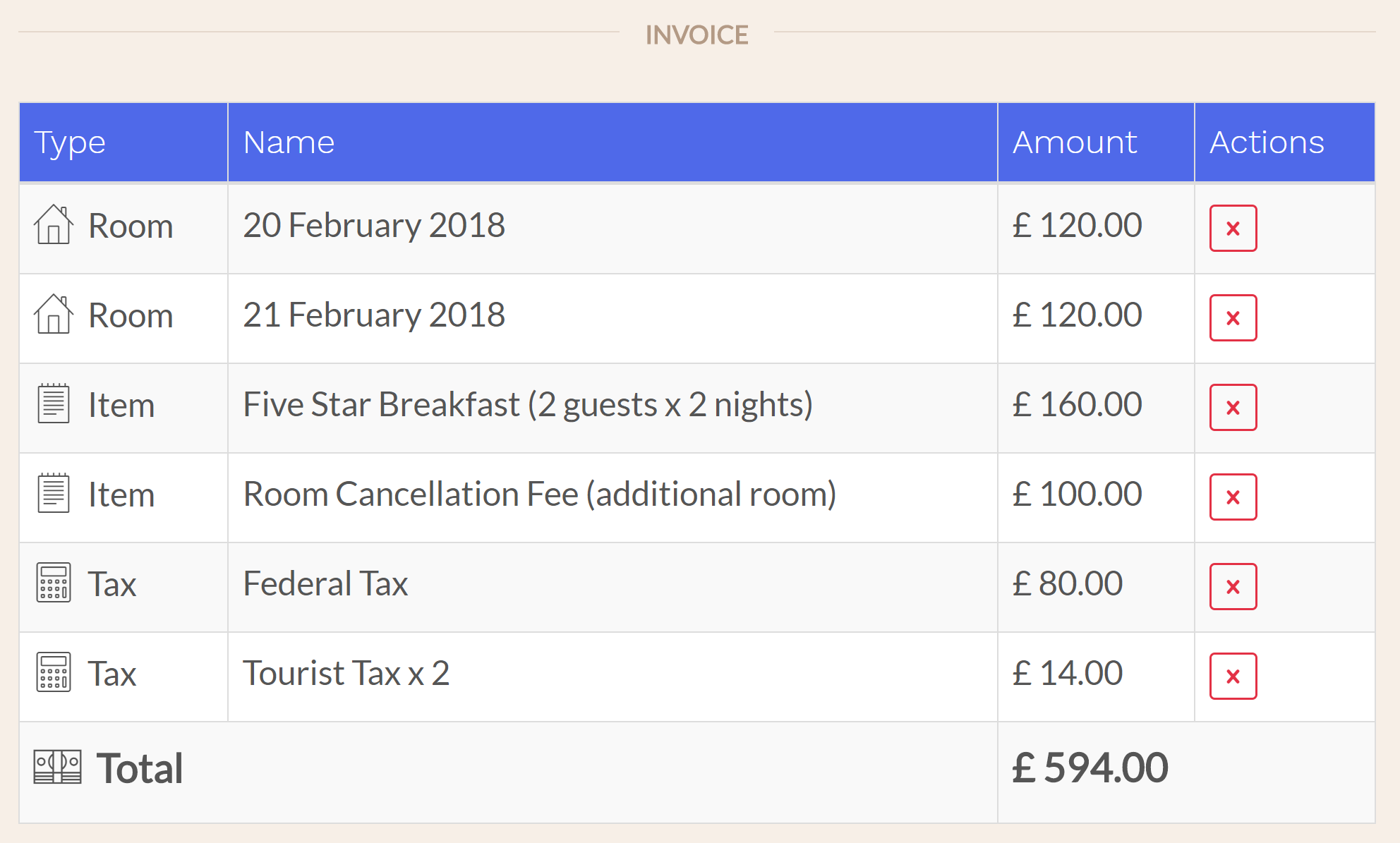 Hotel PMS Software Cancel a Room in a Group To cancel a room in a group, select the booking in your calendar, then go to 'Actions > Cancel this Room.' Enter a cancellation fee, if any, then click to cancel. The cancellation fee for this room will appear on the invoice of the main room for the group.