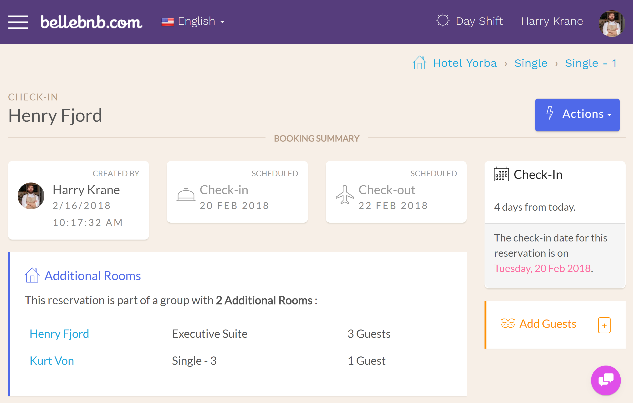 Hotel PMS Software Click 'OK' in the menu to merge the bookings. The new room will now be listed as an additional room for the group.