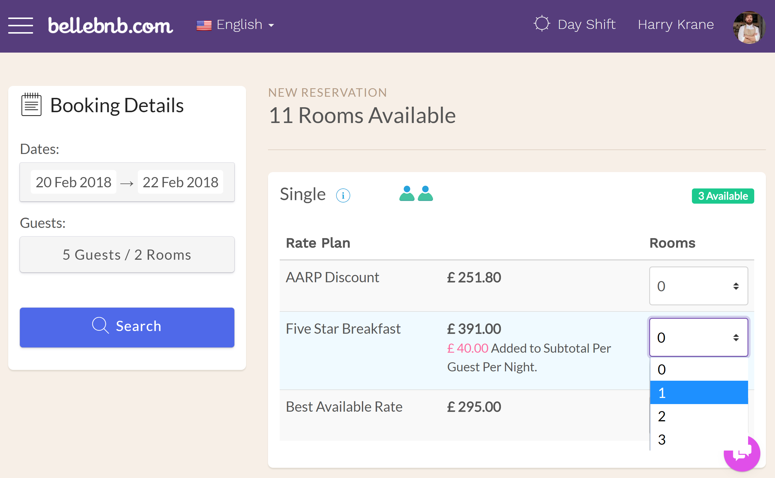 To make a multi-room booking in your Front Desk, go to 'Reception > New Reservation.' Select the dates for the booking, then enter the total number of guests and rooms required in the dropdown. Click 'Search.'