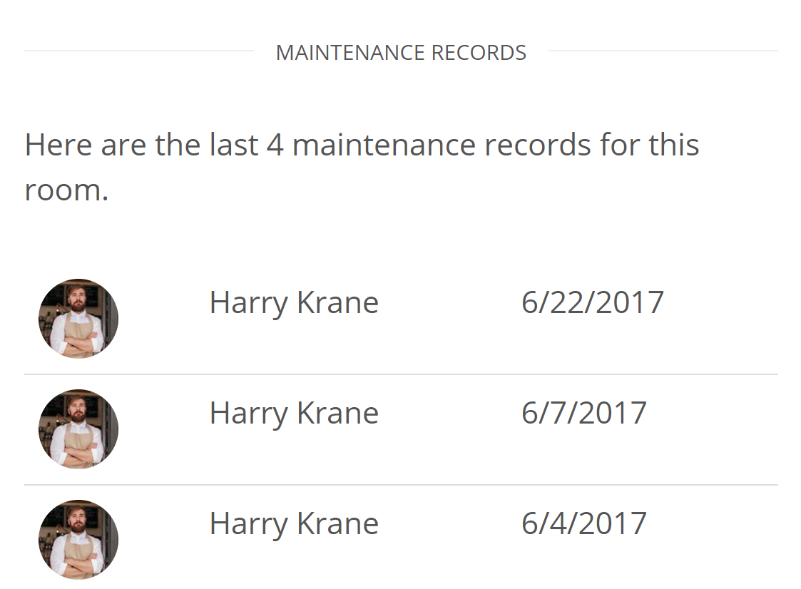 Complete Hotel maintenance stats